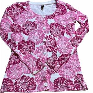 White Stag Pink Floral Button Cardigan Womens S